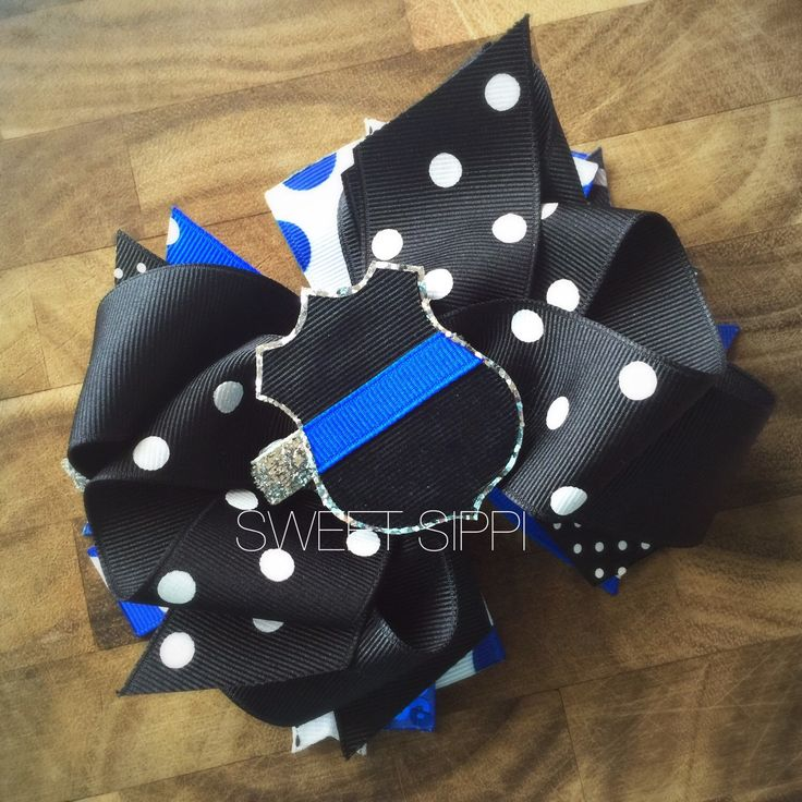 Police Hair Bow • Police Hair Clip • Unique Hair Bow • SWEET SIPPI HAS THE BEST BOWS EVER!!!! Love this!  https://www.etsy.com/listing/264757831/police-hair-bow-policemen-hair-bow