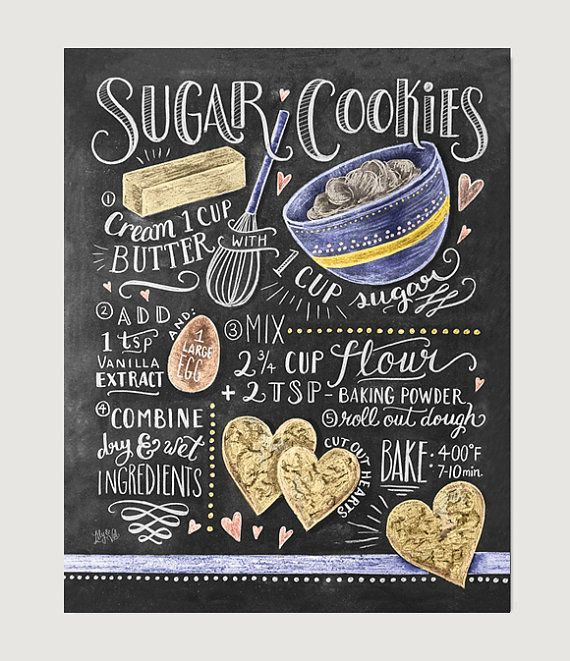 We make our sugar cookies in the shape of hearts because we absolutely love this recipe! If sweet and simple sugar cookies are your favorites, this hand illustrated recipe design will be too!  ~~~~~~~~~~~~~~~~~~~~~~~~~~~~~~~~~~~~~~~~~~~~~~~~~~~~~~  Lovingly illustrated with a mix of cheer and whimsy, our prints add character to any space or occasion. Frame them around the home or surprise a special someone with these uniquely charming gifts.  All Lily & Val original chalkboard prints are…