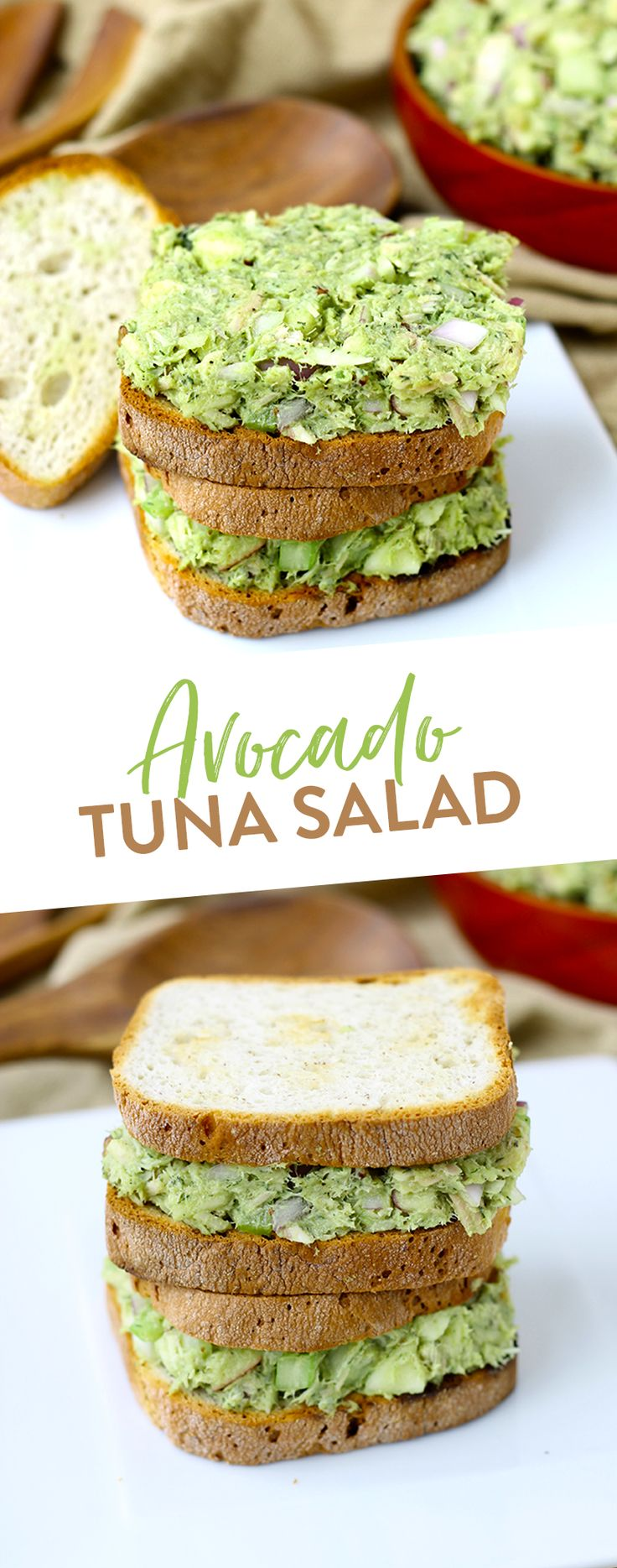 This easy lunch for Avocado Tuna Salad recipe whips up in minutes and uses healthier swaps to up your tuna salad game. No more mayo needed!