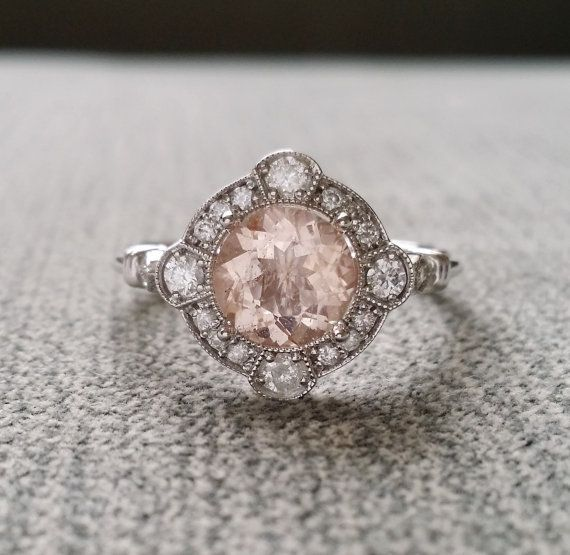 "Estate Halo Moraganite Diamond Antique Engagement Ring Victorian Art Deco Peach Pink Edwardian 14K White Gold ""The Charlotte"""