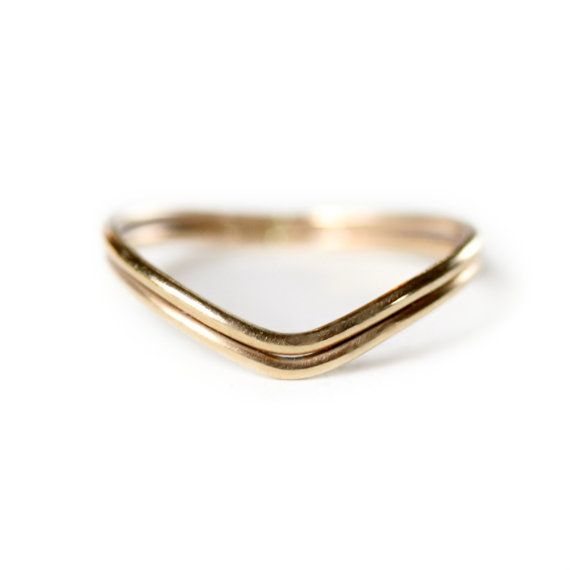 14k gold Curved Wedding Band Gold wedding Ring 14k by moiraklime