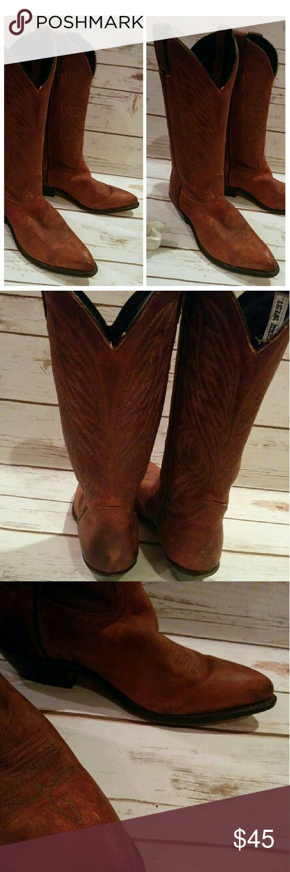 Vintage cowboy boots Beautifully worn in tan leather boots. Some scuffing and wear but this just contributes to the look of the boots. Code West Vintage Shoes Heeled Boots