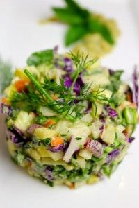 Chop-Chop Salad For the Salad 1/2 yellow squash 1/2 zucchini 4 stalks asparagus 1 cup broccoli 7 string beans 1/2 parsnip 1-2 small carrot 1 cup red cabbage 1/2 turnip