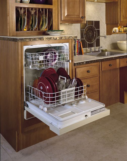 Raised Dishwasher cabinet, perfect for wheelchair accessibility!