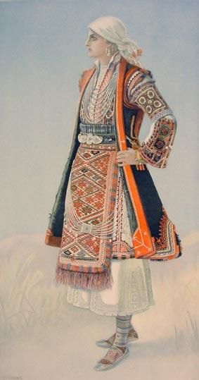 Festive woman's dress. From the Antartikoregion (Greek Macedonia). Clothing style: rural, early 20th century.