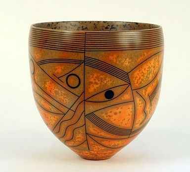 Bowl by Duncan Ross  Burnished Smoked Terrasigillata  20cm d  - reminds me of Xul Solar's art