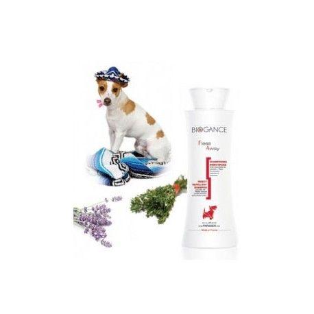 Shampoing insectifuge anti parasitaire bio pour chien Biogance naturel Non testé sur animaux Fabrication française Garantie sans paraben, sans phénoxyethanol et sans huiles animales Convient aux chiots.