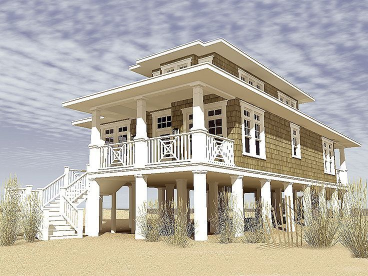 Beach house plans coastal home plans the house plan for Elevated key west style house plans