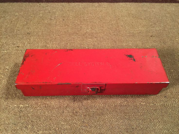 """Vintage Red Bell System D Small Metal Tool Box 8 1/2"""" x 2 1/2"""" Bell Telephone    eBay"""