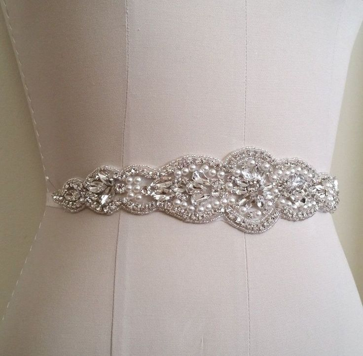Crystal Pearl Wedding Applique Trim = DIY! = 11 inch long #Unbranded