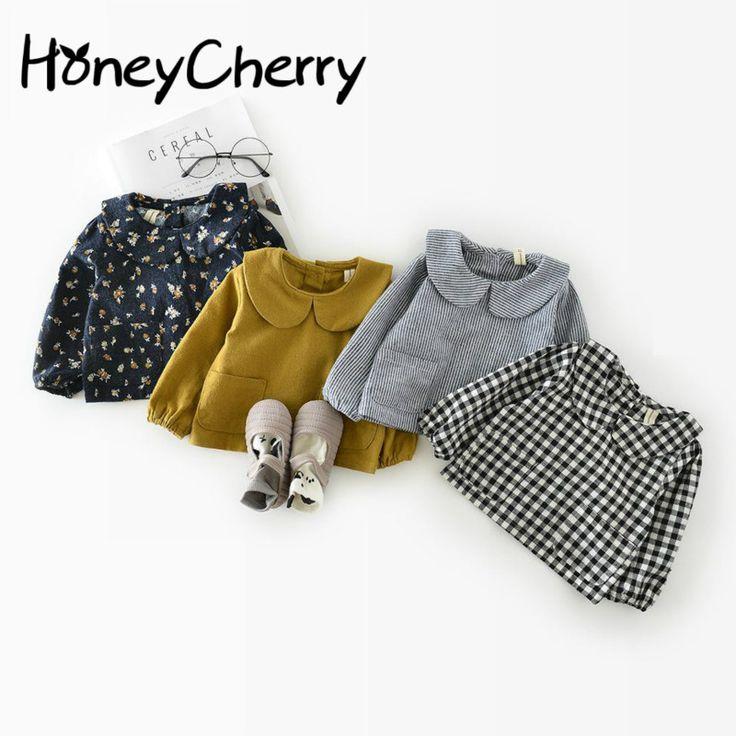 Корейский осень хлопок лист воротник 0-для детей от 1 до 2 лет куртка для девочек Рубашки в клетку для девочек Блуза Топ Обувь для девочек школьные блузки
