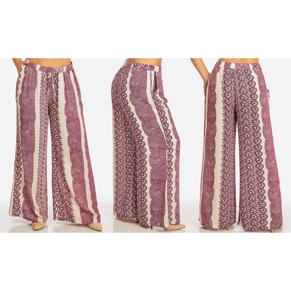 Women's ModaXpressOnline.com Women's High Waist Printed Palazzo... ($18) ❤ liked on Polyvore featuring red