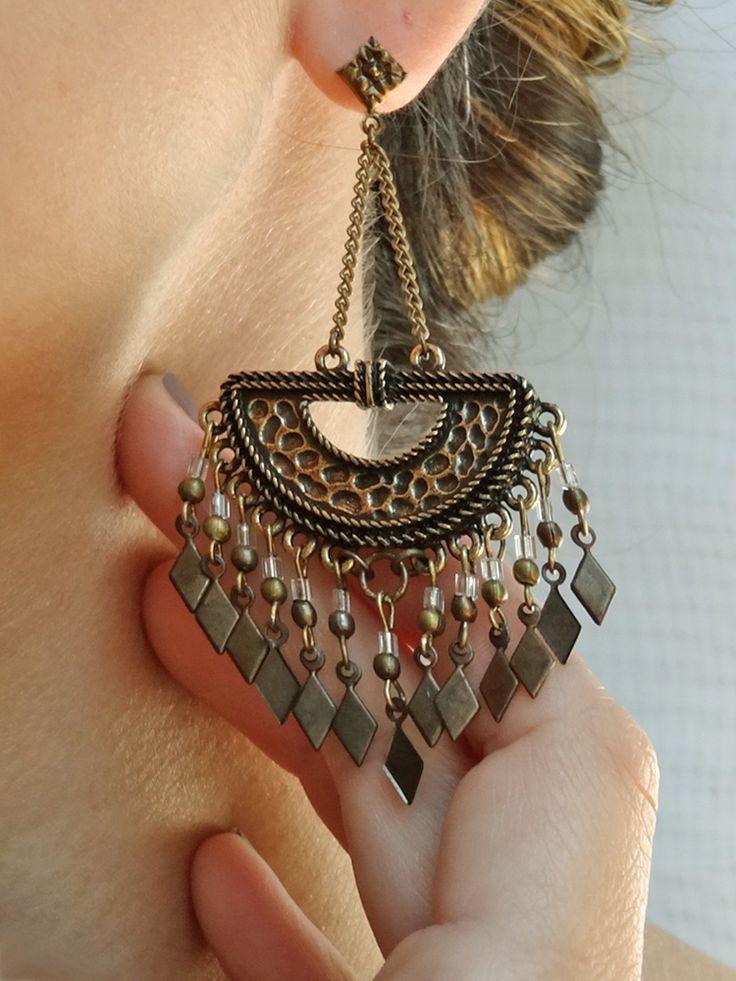 Maxi Brincos Egito - Egypt Maxi Earrings   Beat Bijou   Elo7