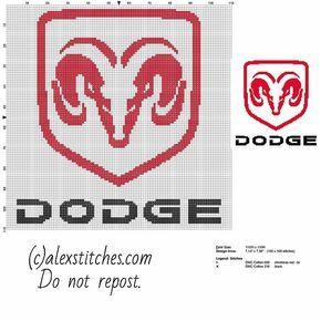 Dodge car logo free cross stitch pattern download