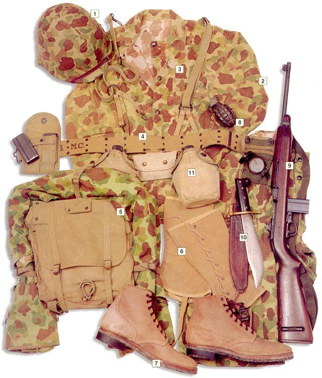 USMC private, Pacific, 1944    01 – M1 helmet with cover 02 – sweatshirt and trousers 03 – dog tags 04 – main belt with two canteens, personal dressing, ammo pouches and compass 05 – M41 backpack with blanket 06 – USMC leggins 07 – US Navy boots 08 – Mk II frag grenade 09 – 7,62 mm (.30) M1 carbine 10 – Collins knife-machette