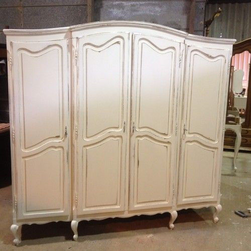French Shabby Chic 4 Door Wardrobe / Armoir /vintage / Antique In Antiques,  Antique Furniture, Armoires/Wardrobes