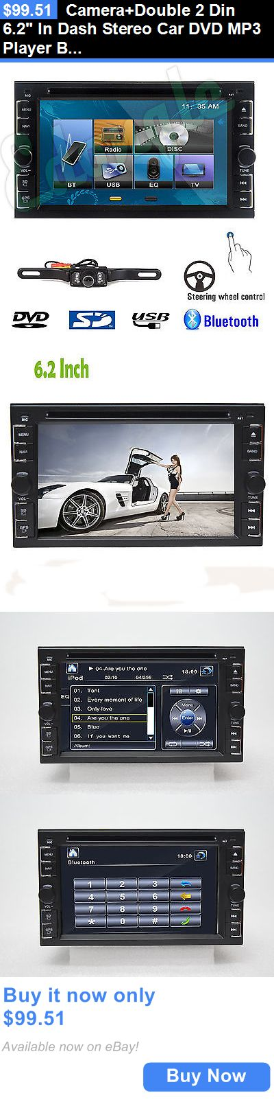 Vehicle Electronics And GPS: Camera+Double 2 Din 6.2 In Dash Stereo Car Dvd Mp3 Player Bluetooth Radio Ipod BUY IT NOW ONLY: $99.51