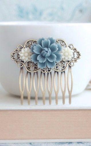 Dusty Blue Chrysanthemum Rose, Ivory Daisy Flower Hair Comb, Bridesmaid Gift. Blue Bridal, Vintage Rustic Dusky Blue Wedding, Something Blue by Marolsha - https://www.etsy.com/listing/152924782/dusty-blue-chrysanthemum-rose-ivory?ref=shop_home_active_19&ga_search_query=Blue