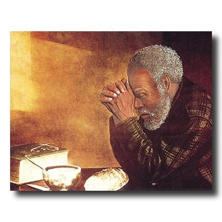 African American Black Man Praying At Dinner Table Daily Bread Religious Picture Art Print By Prints Inc Amazon Dp B0027Z394K R