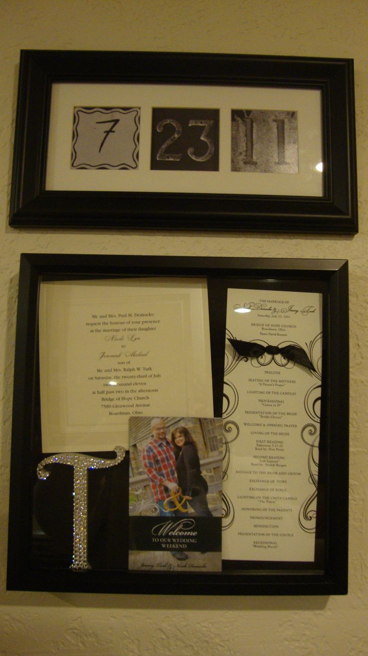 "My first Pinterest project!  Inside the shadow box is an invitation to my wedding, church program, wedding weekend pamphlet, and topper to the cake.  The ""date"" was a gift from a close family friend.  Now on display :)"
