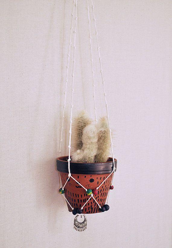 Porta Piante Aereo Boho Chic  Cactus Piante Grasse di OfficinadiVi