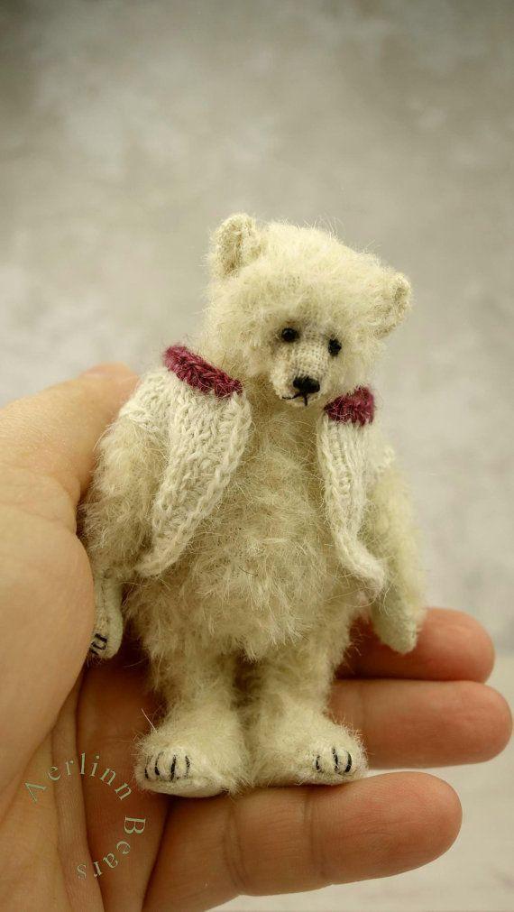 Matthias White Miniature 3 1/2 Artist Teddy Bear by aerlinnbears