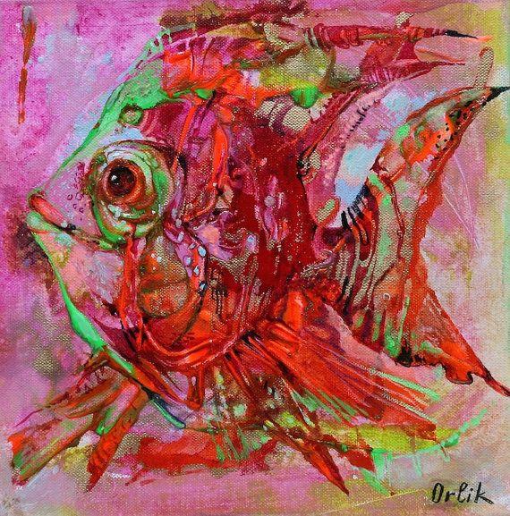 Modern Art on canvas Small Original Painting Acrylic colors 30x30cm  Wall Art by Inna Orlik