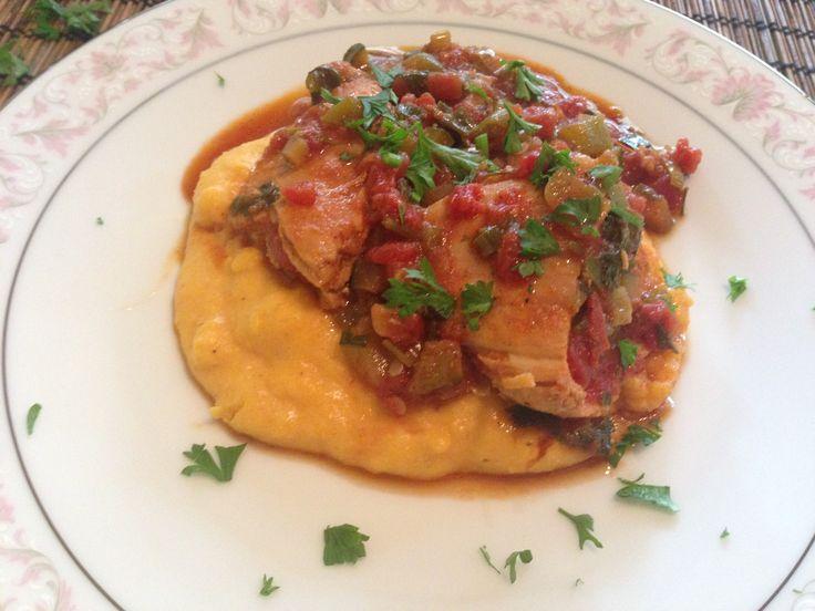 Peppered Chicken with Saffron Polenta
