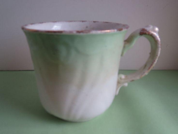 Antique S Ford & Company England Green Fade & Gold Porcelain Shaving Mug Cup