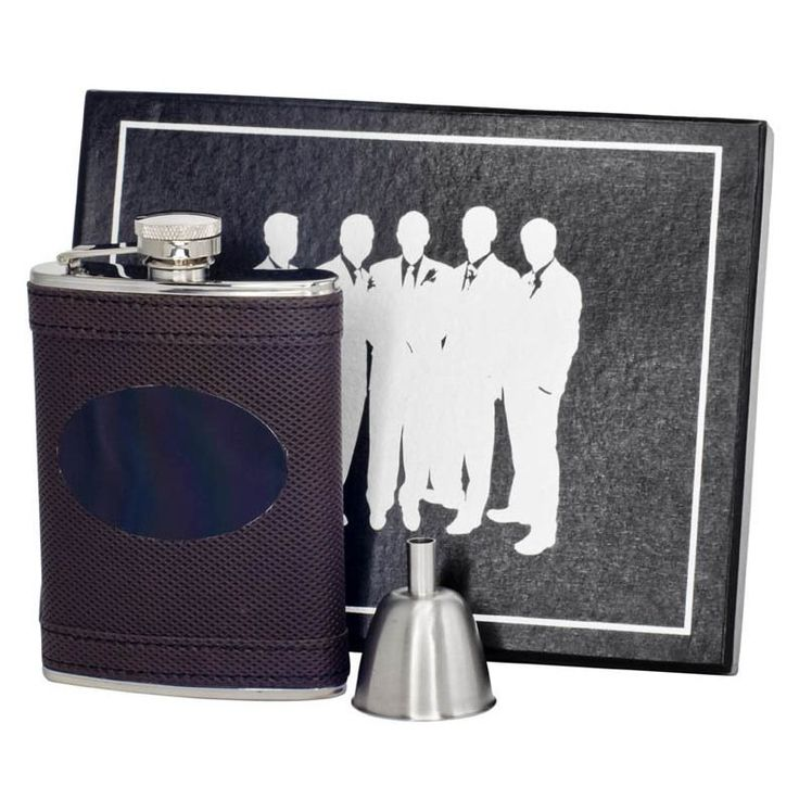 Visol Kearney Brown ette Century Flask Gift Set with Engraving Plate - 6 ounces