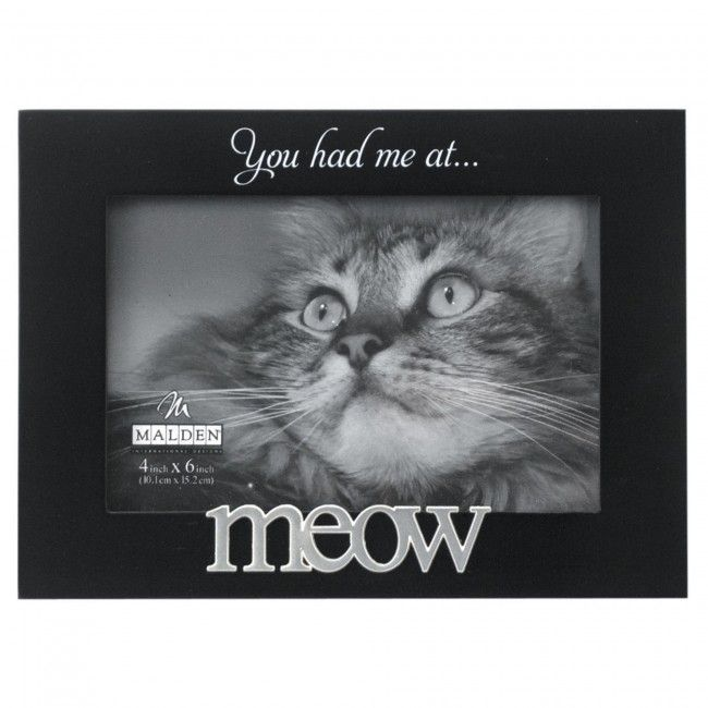 Need something else for your cat to knock over as it walks around the living room? This 'Meow' frame is the perfect way to show how much you love your kitty cat.