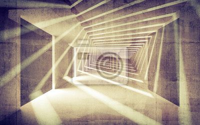 Streszczenie beton 3d wnętrze z perspektywy wiązek światła na obrazach Redro. Najlepszej jakości fototapety, naklejki, obrazy, plakaty, poduszki. Chcesz ozdobić swój dom? Tylko z Redro