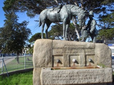 The Horse Memorial in Port Elizabeth, South Africa honours horses killed in the Boer War of 1899-1902. The inscription highlights that a nation may be great if it demonstrates justice and compassion.