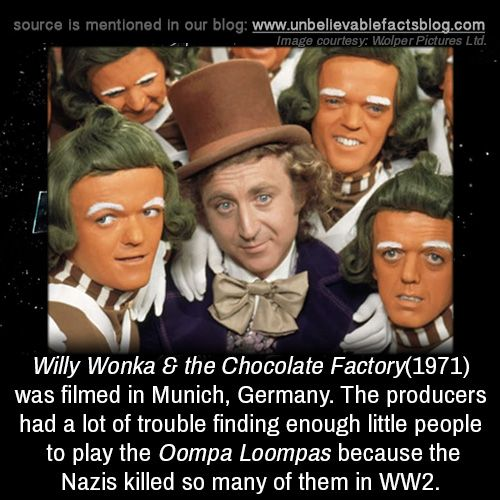 Willy Wonka & the Chocolate Factory(1971) was filmed in Munich, Germany. The pro… – Unbelievable Facts