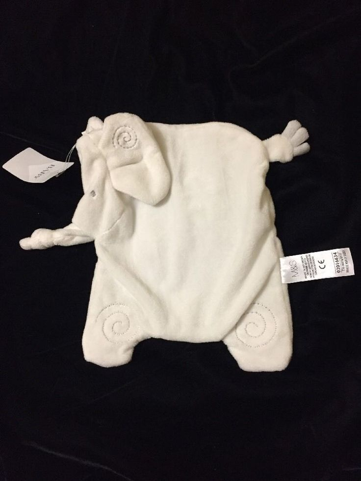 M&S Elephant White Blanket Sleep Comforter Soother Doudou Marks & Spencer New  | eBay