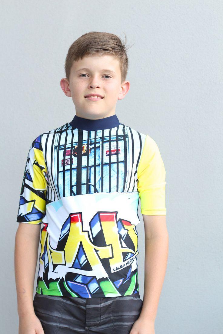 Kids swimwear boy's short sleeve Rash Vest with sublimated graffiti design by LaLaLaDesigns on Etsy