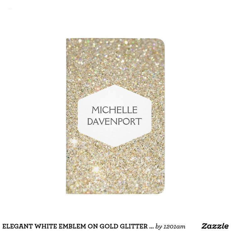 ELEGANT WHITE EMBLEM ON GOLD GLITTER Personalized Journal Coordinates with the ELEGANT WHITE EMBLEM ON GOLD GLITTER Business Collateral by 1201AM. An elegantly modern white hexagon emblem holds your name in style on this personalized faux glittery gold pocket journal. © 1201AM CREATIVE
