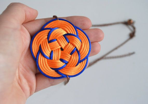 Orange and blue flower knot necklace black knotted by elfinadesign