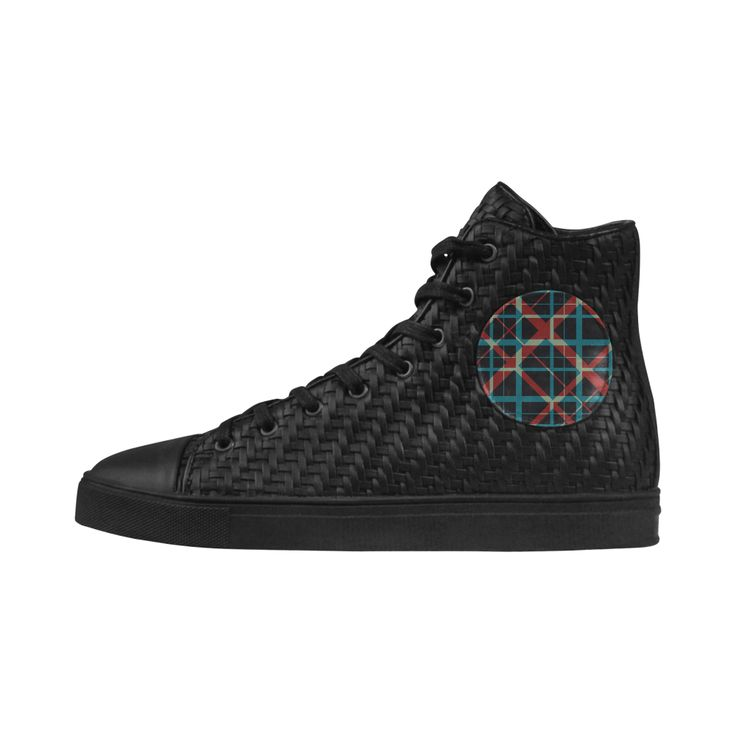 Cool Hipster Black Woven PU Leather Women's Hi Top Boots  with Plaid design #shoes #womenshoes  #cheapshoes #uniqueshoes #plaidshoes #hipster #leatherlowtopshoes #hightops #hipsterhitopshoes #plaidhightopshoes #womenshitops #everydayshoes #hipstershoes #hipsterstyle #plaid #coolshoes #buyshoes