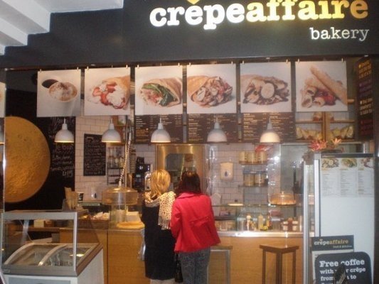 Crepe Affaire. Small crepe restaurant that also serves smoothies. Sooo good. Also located in Spital Fields, Westfield, and Soho.