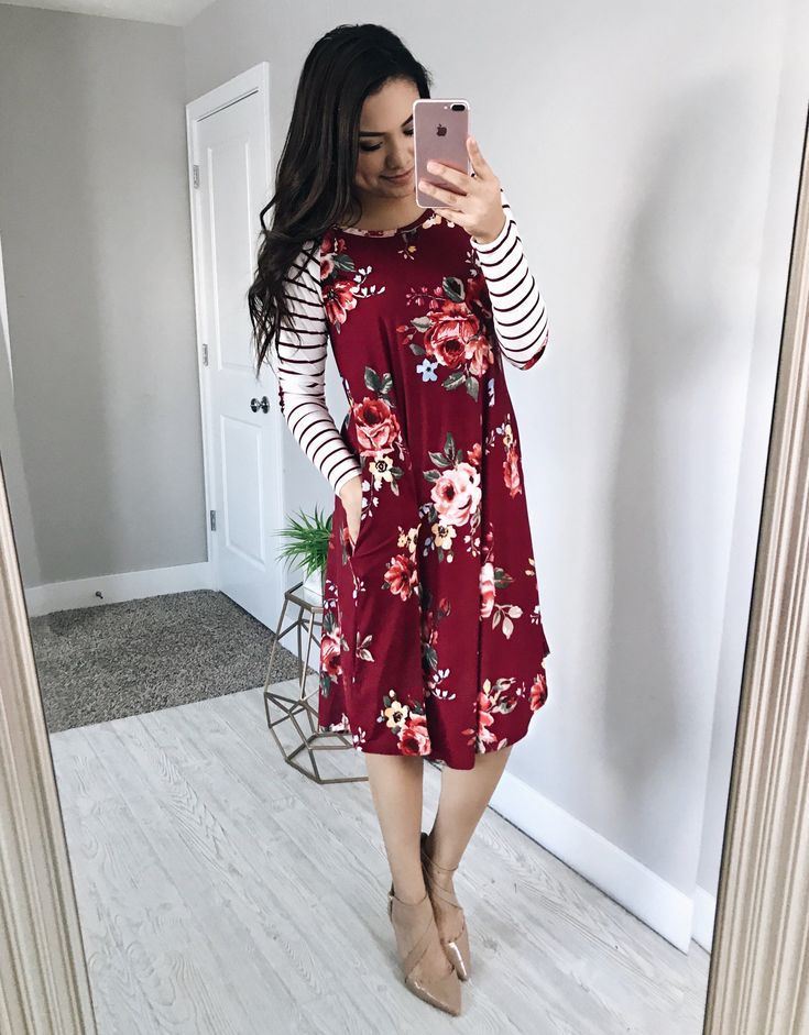 Madison Striped/Floral Dress - Wine - $34