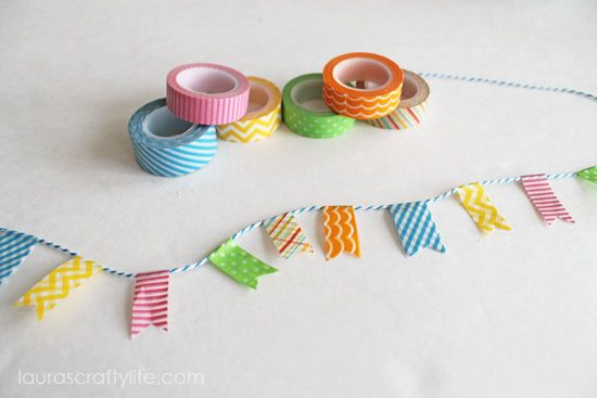 Source: LaurasCraftyLife.com 4. Mini Bunting Bunting is very popular right now, and you see it everywhere from nursery decoration, to cake toppers to your regular old birthday banner. Rather than pay someone else from Etsy to create a personalized piece of bunting, you can create your own miniature version using washi tape! Small bunting addsContinue Reading...