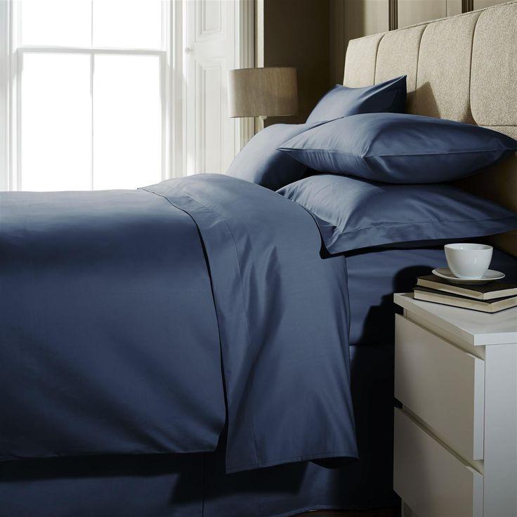 Hotel Living 1000 Thread Count Double Fitted Sheet, Blue Velvet