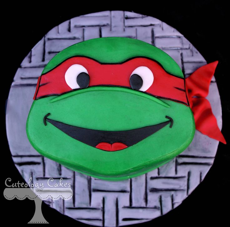 TMNT Teenage Mutant Ninja Turtle mini cake Raphael  www.facebook.com/i.love.cuteology.cakes