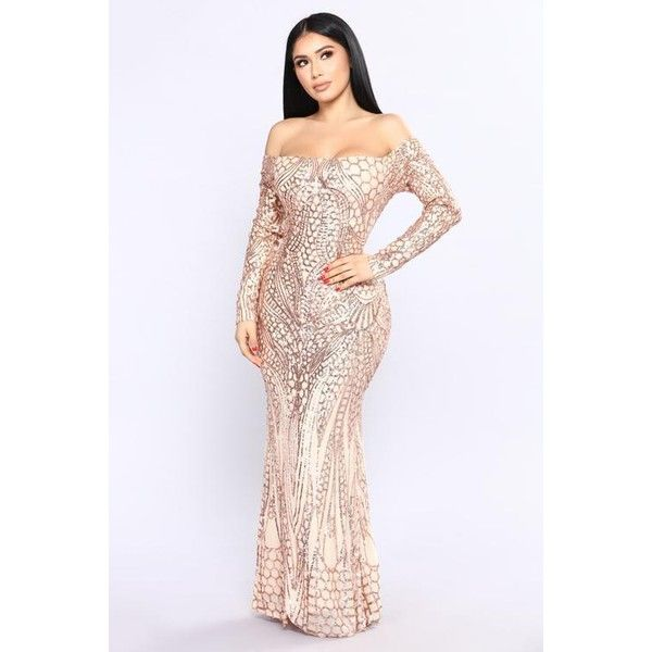 Night Jewel Dress Rose Gold 20 Liked On Polyvore Featuring Dresses Black And Gold Dresses Rose Dress Long Sleeve D Jewel Dress Red Sequin Dress Dresses