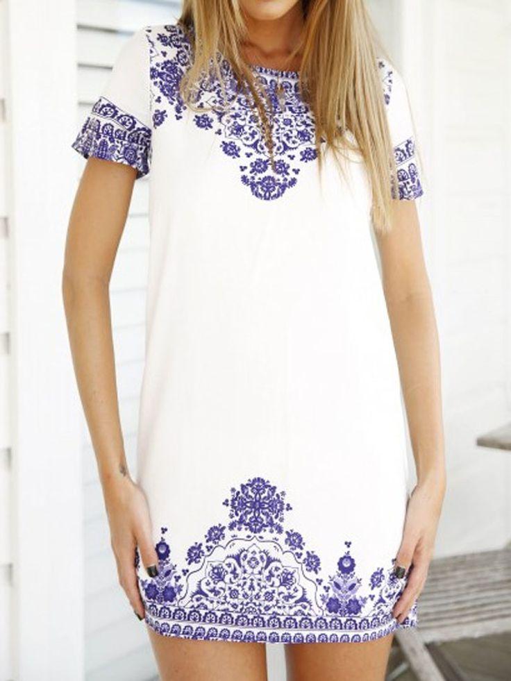 White Tile Print Short Sleeve Keyhole Back Shift Dress | Choies