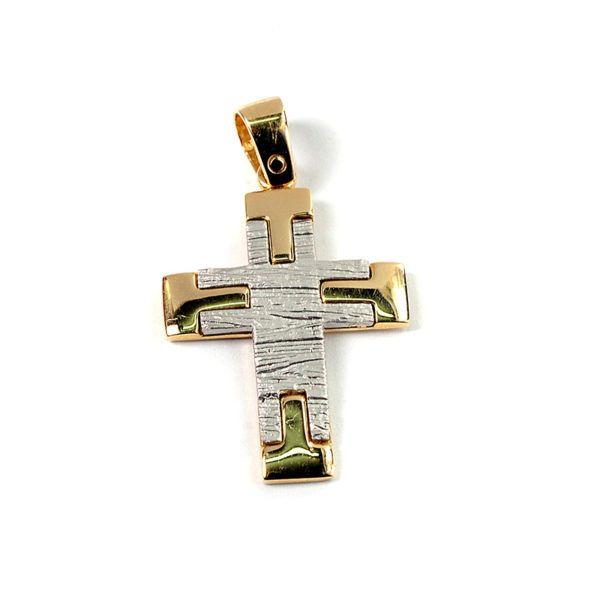 Σταυρός δίχρωμος  χρυσός Κ14  7869