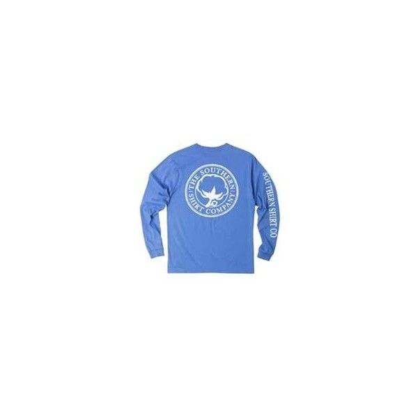 Southern Shirt Company Seaside Logo Long Sleeve T-Shirt in Spinnaker ($50) ❤ liked on Polyvore featuring tops, t-shirts, cotton t shirt, longsleeve t shirts, long sleeve shirts, cotton logo t shirts and logo t shirts