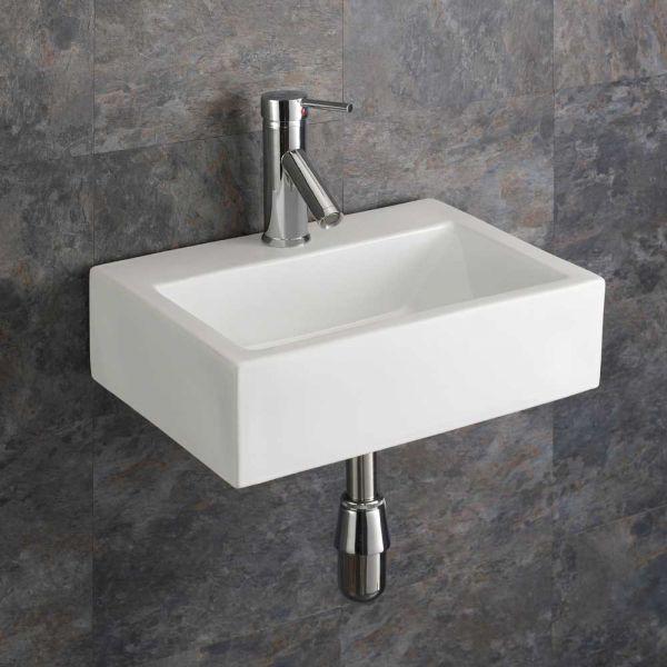 Bathroom Wall Hung Basin White, Small Rectangle Bathroom Sink