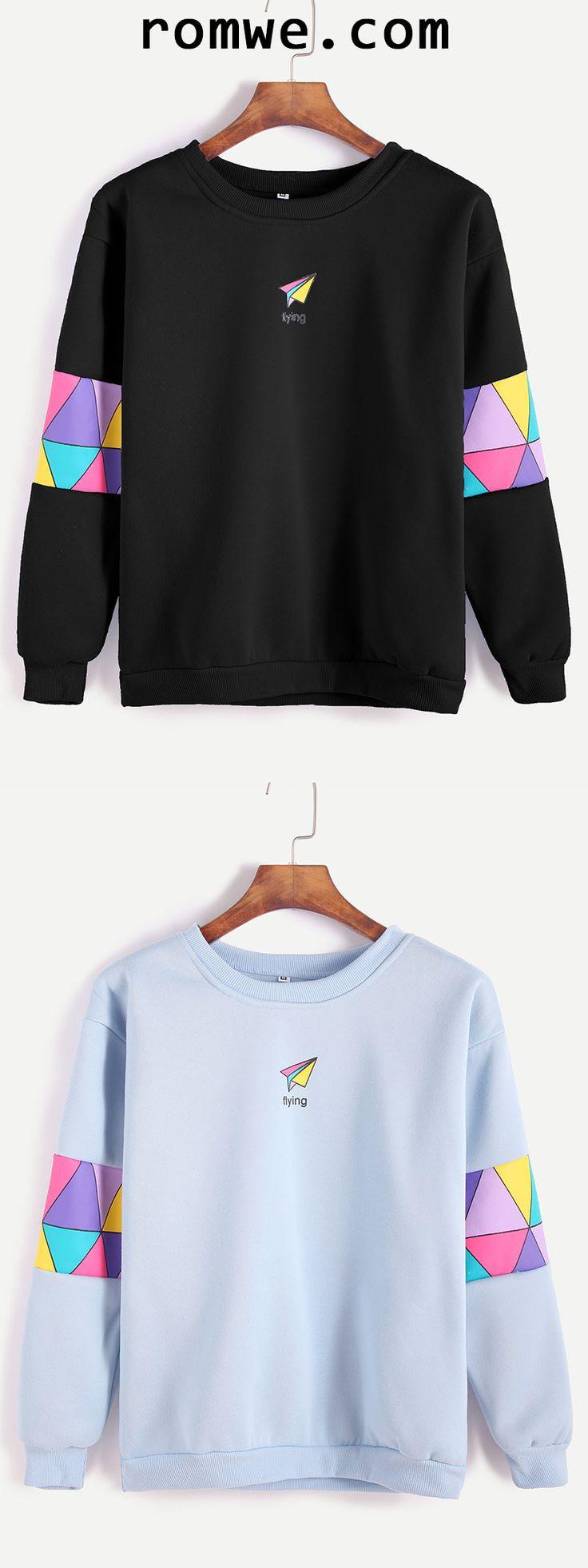 Black & Blue Paper Airplane Print Patchwork Trim Sweatshirt